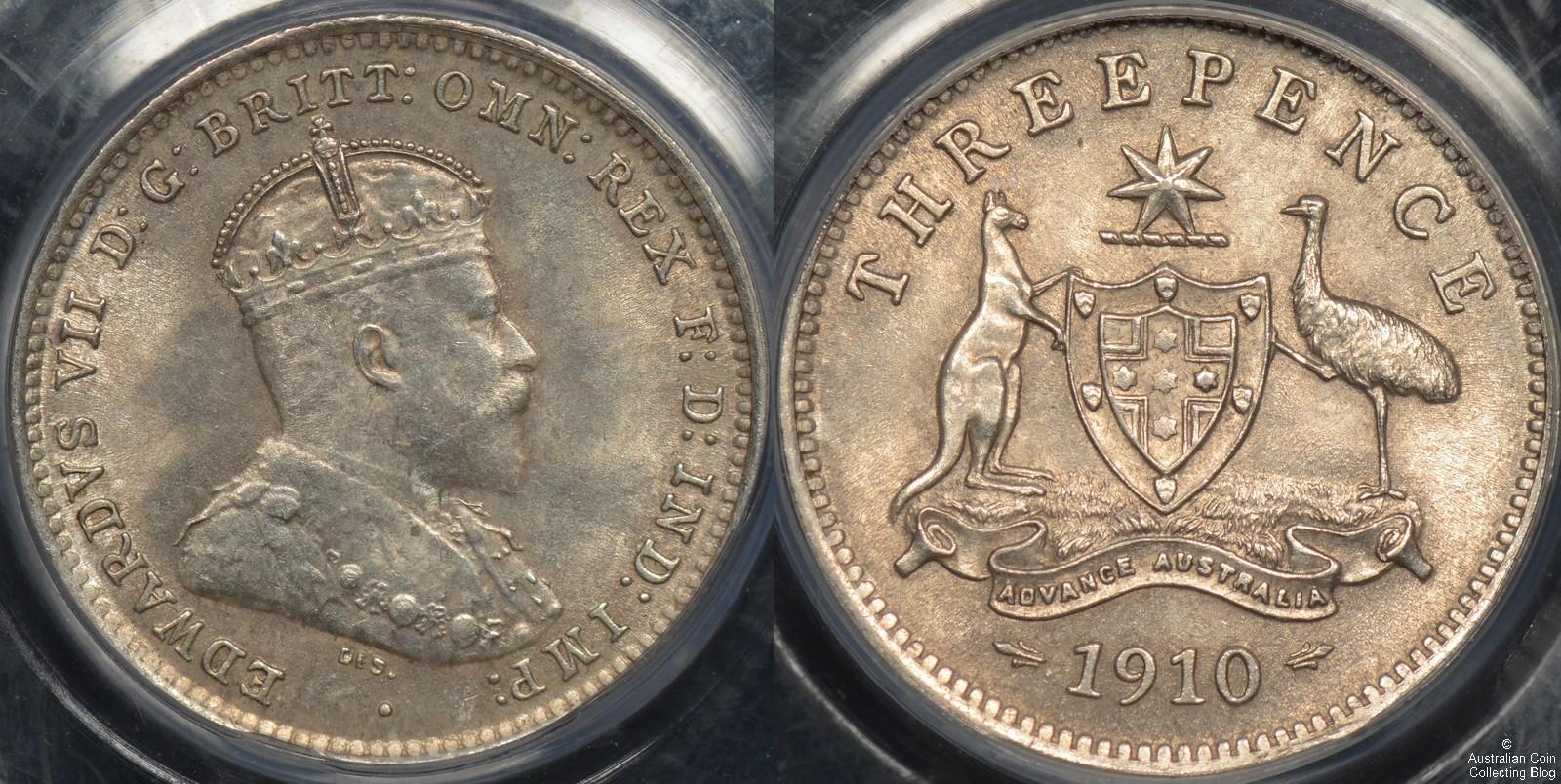 Australia 1910 Threepence PCGS MS63