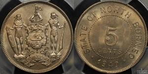 British North Borneo 1940 5 Cent PCGS MS65