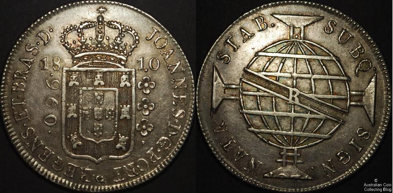 Brazil 1810 960 Reis PCGS AU53
