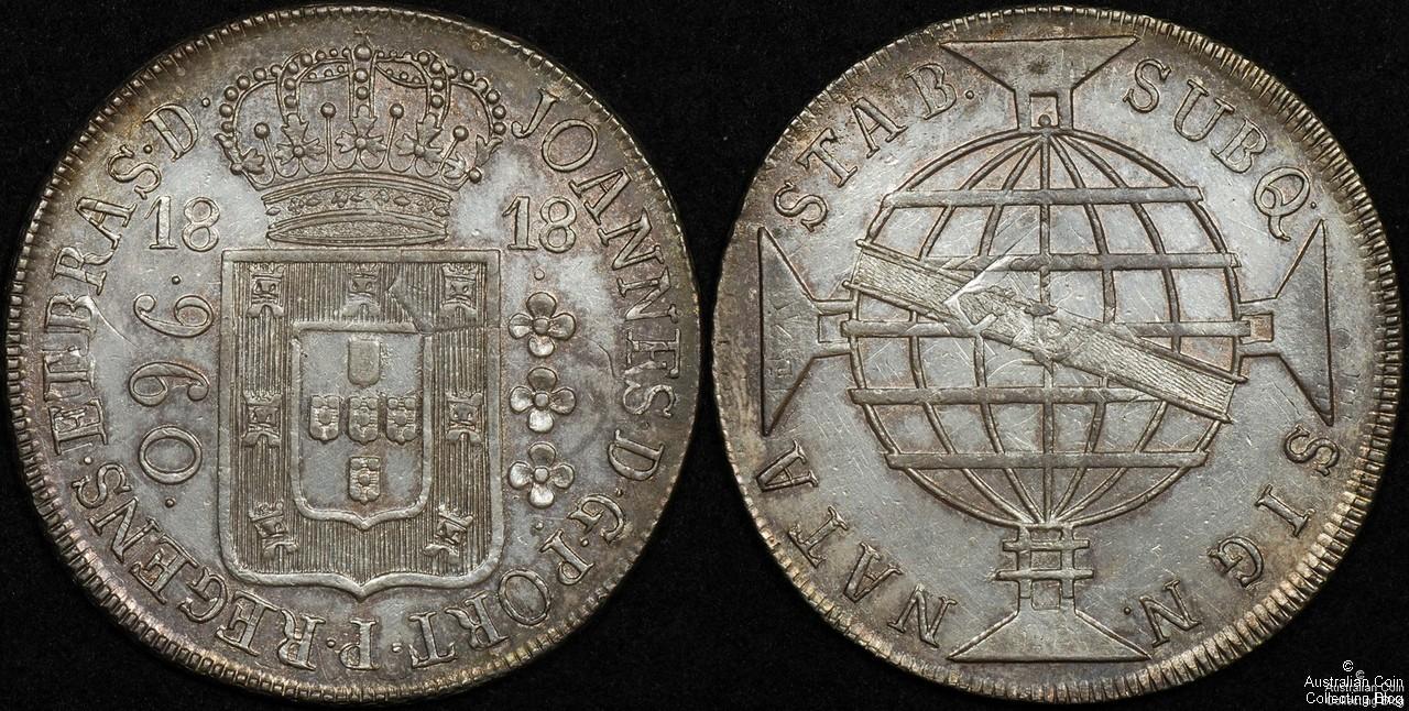 Brazil 1818R 960 Reis PCGS Cleaned