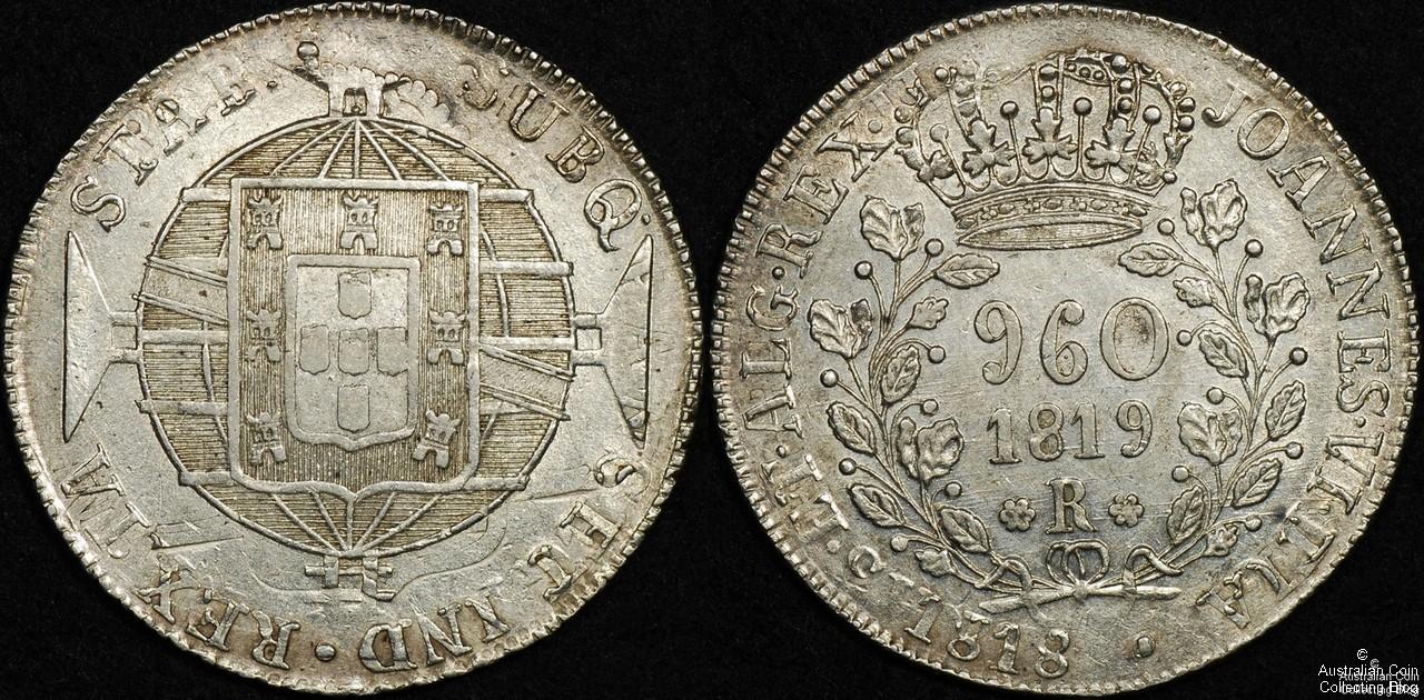 Brazil 1819 960 Reis PCGS Cleaned