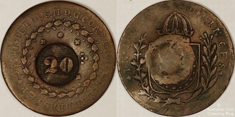 Brazil 1833 20R Fine