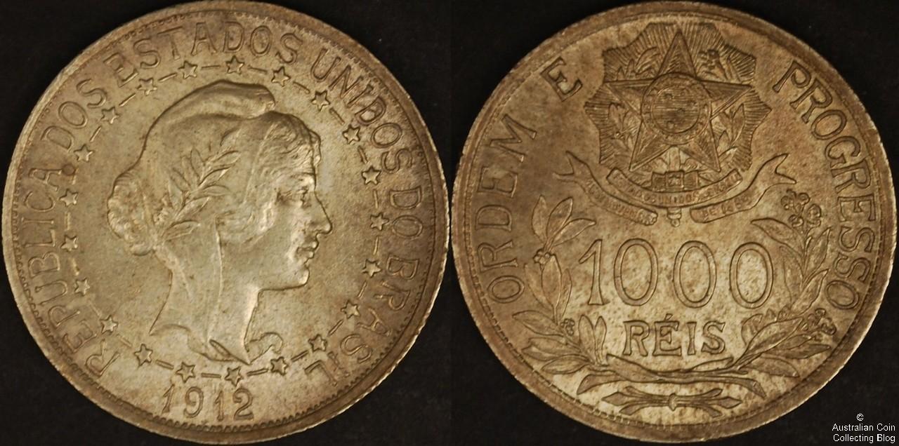 Brazil 1912 1000R PCGS MS64