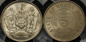 British North Borneo 1928 5 Cent PCGS MS65