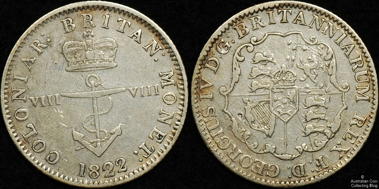 British West Indies 1822 1/8th Dollar F