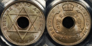 British West Africa 1912H Half Penny PCGS MS64