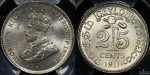 Ceylon 1911 25 Cent PCGS MS64