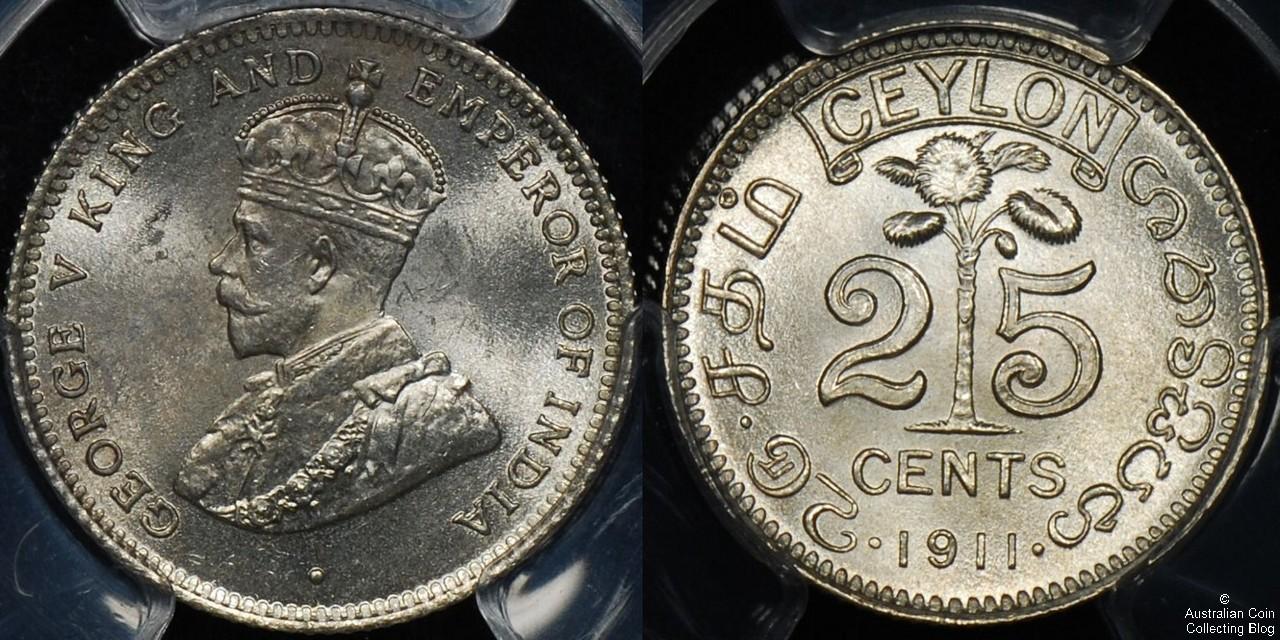 Ceylon 1911 25c PCGS MS64