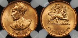 Ethipia 1936 1 Cent NGC MS65RD