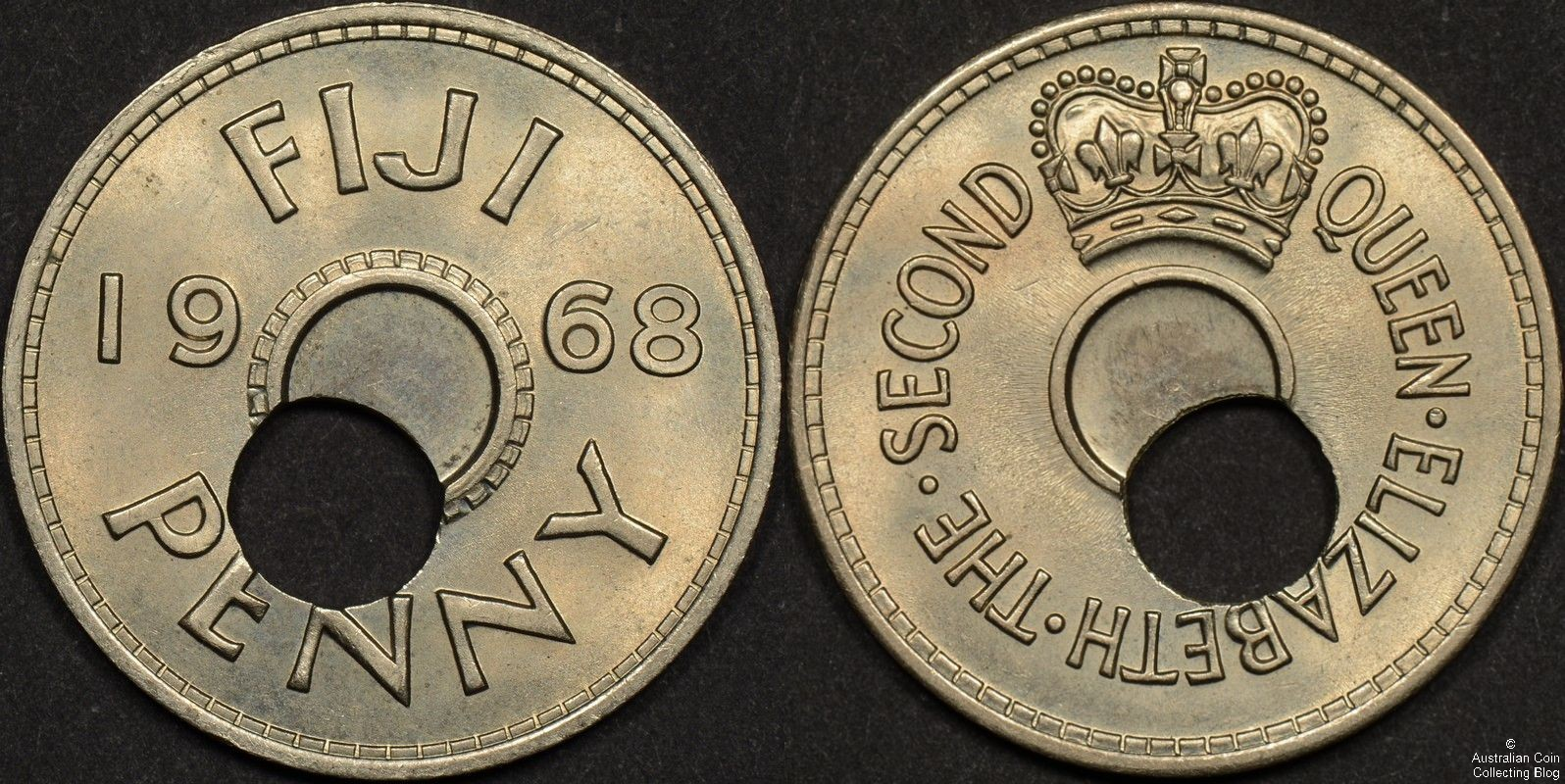 Fiji 1968 Penny Off Center Hole Error