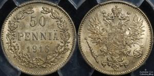 Finland 1916S 50 Pennia PCGS MS65