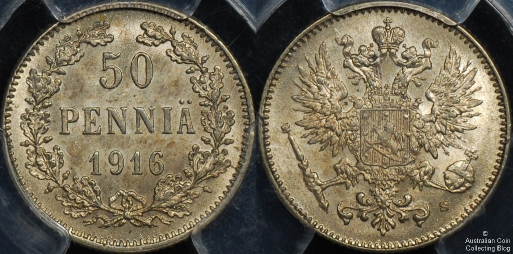 Finland 1916 50 pennia PCGS MS65
