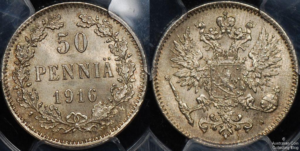 Finland 1917 50 Pennia PCGS MS64