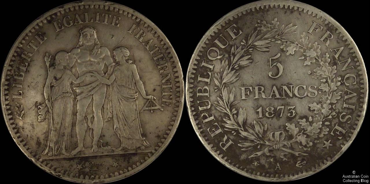France 1873A 5F VF