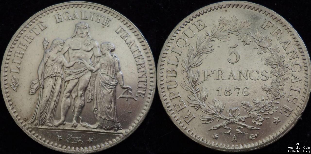 France 1876A 5F VF