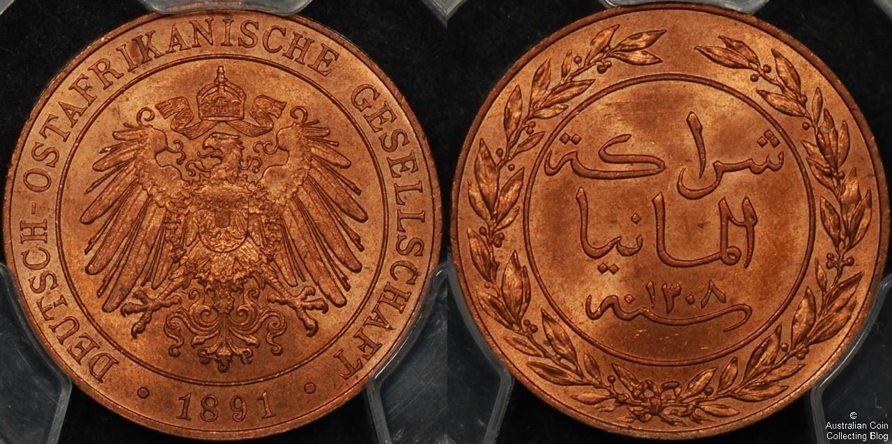 German East Africa 1891 Pesa PCGS MS64RD