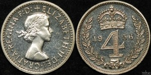 Great Britain 1956 Maundy Fourpence