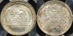Guatemala 1880/770 Half Reale PCGS MS64