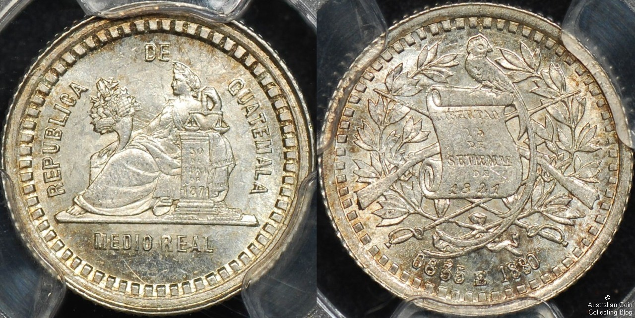 Guatemala 1880 1/2 Reale PCGS MS64