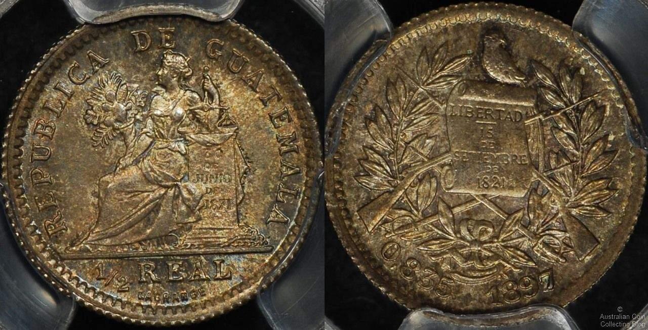 Guatemala 1897 1/2 Reale PCGS MS65