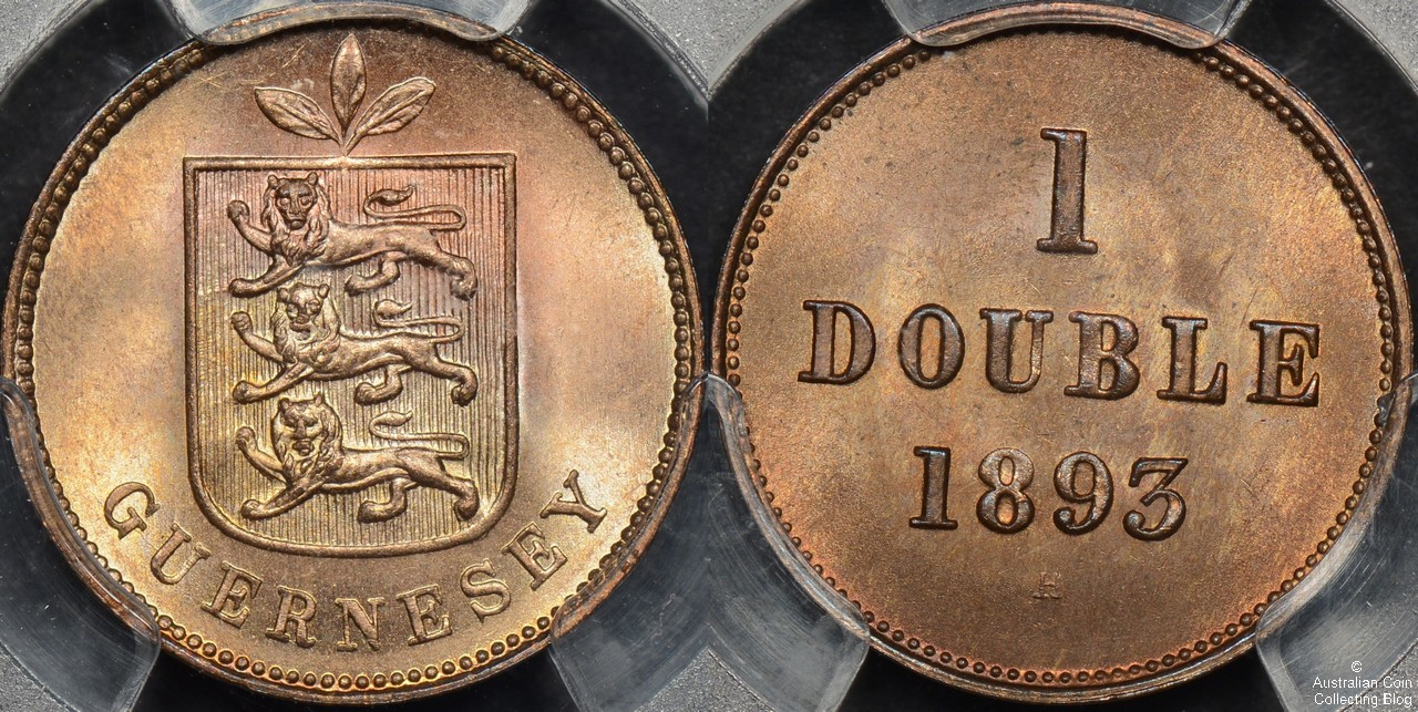 Guernsey 1893 -H Double PCGS MS66RB