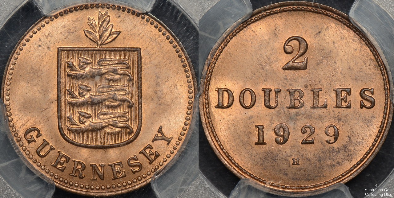 Guernsey 1929 -H 2 Double PCGS MS64RD