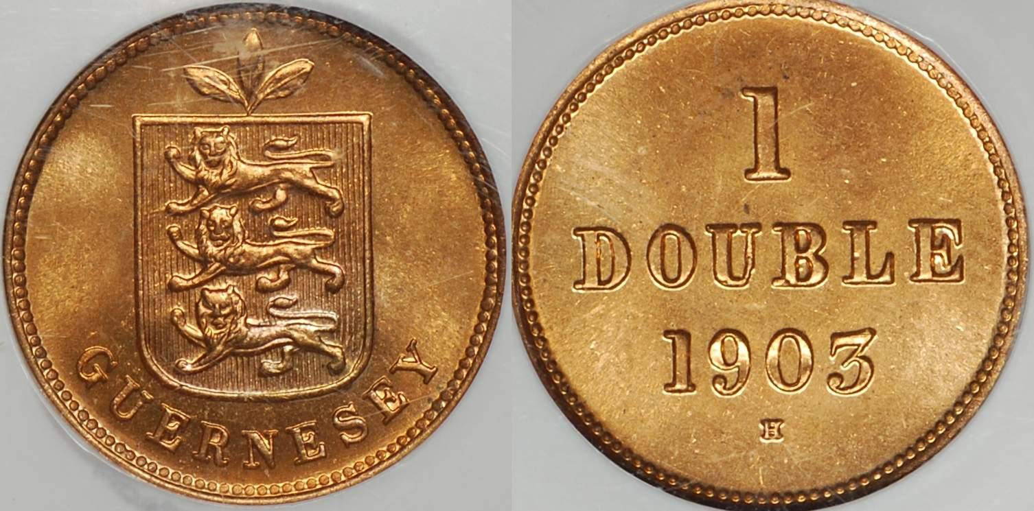 Guernsey 1903 Double MS65RD