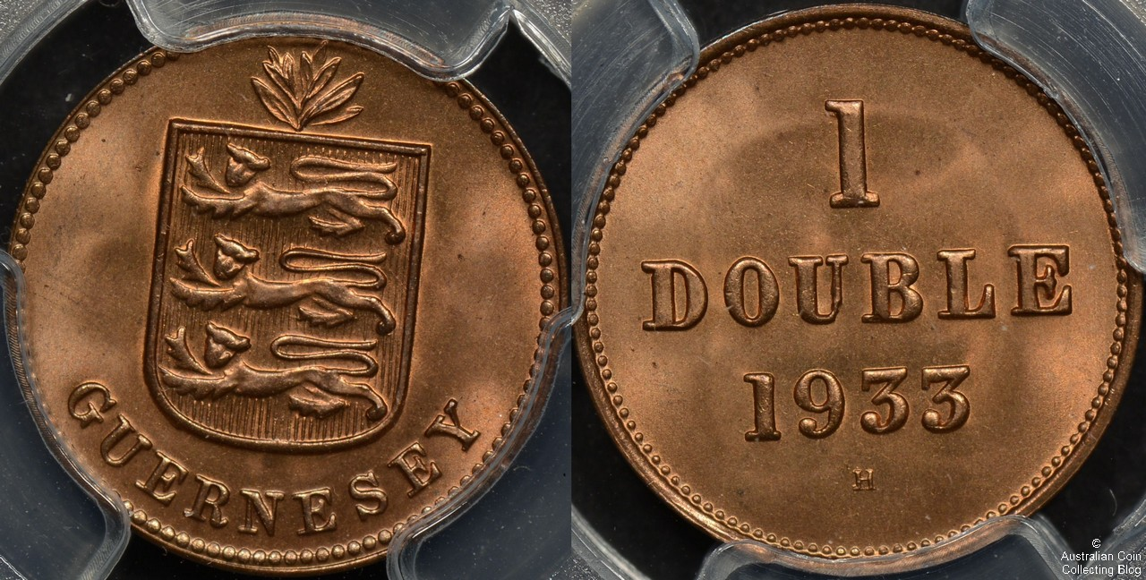 Guernsey 1933-H Double PCGS MS66RD