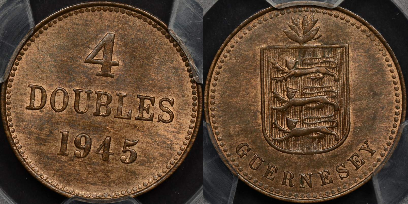 Guernsey 1945-H 4 Double PCGS MS65RB