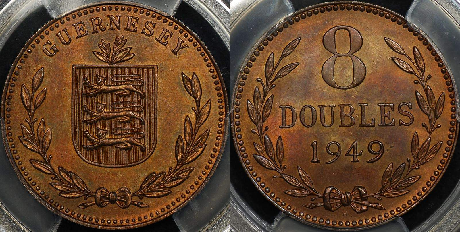 Guernsey 1949 -H 8 Double PCGS MS65RB