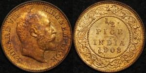 India 1908(c) 1/2 Pice PCGS MS64RB