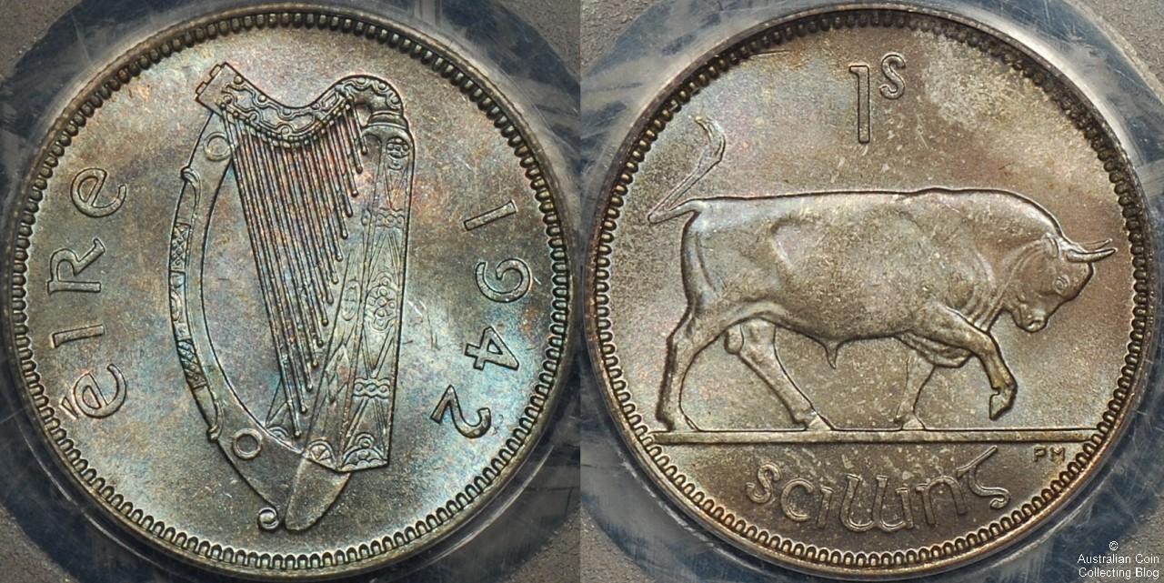 Ireland 1942 1s PCGS MS65
