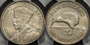 New Zealand 1934 Florin PCGS MS65