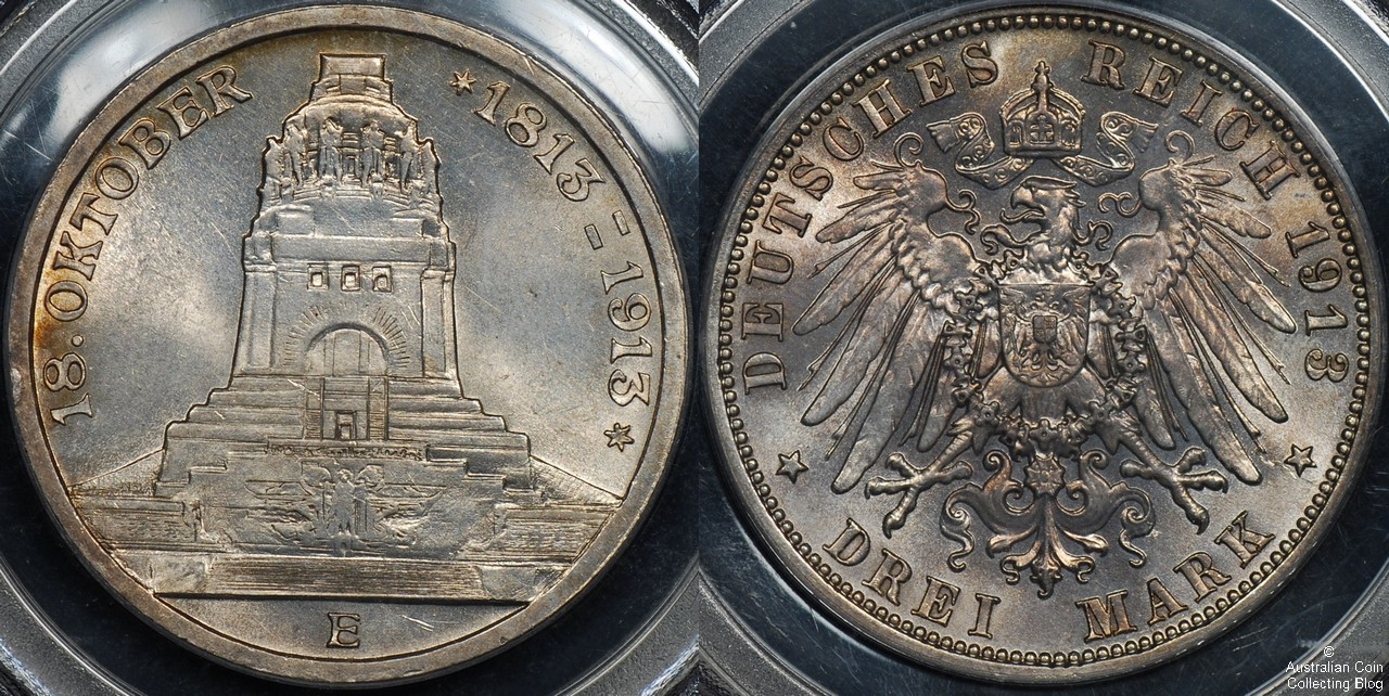 Germany 1913 3M PCGS Cleaned