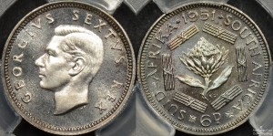 South Africa 1951 Proof Sixpence
