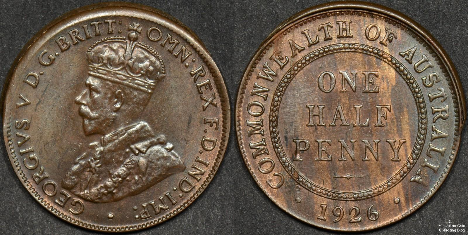 Australia 1926 Halfpenny Ramstrike Error