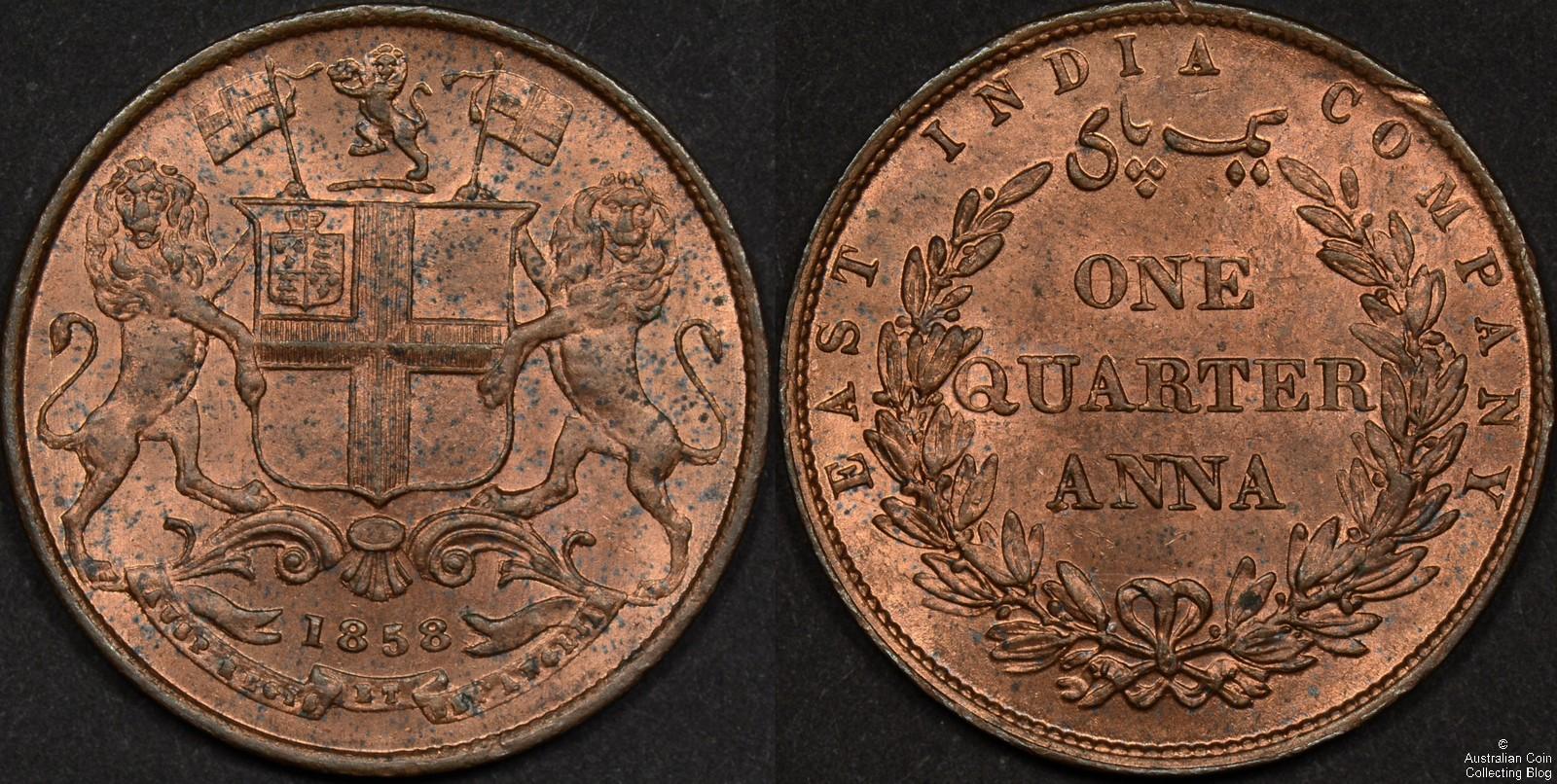 India 1858 Quarter Anna