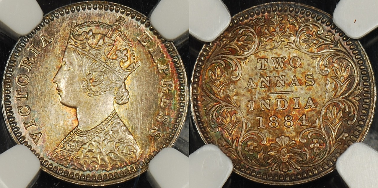 India 1884(c) 2 Annas NGC MS66