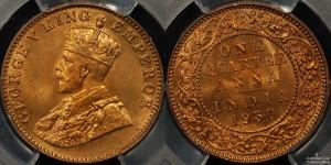 India 1930B Quarter Anna PCGS MS66RD