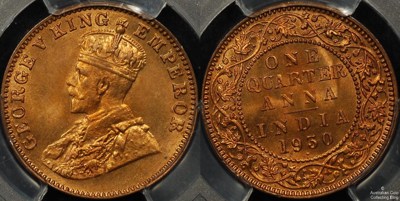 India  1930 1/4 Anna PCGS MS66RD