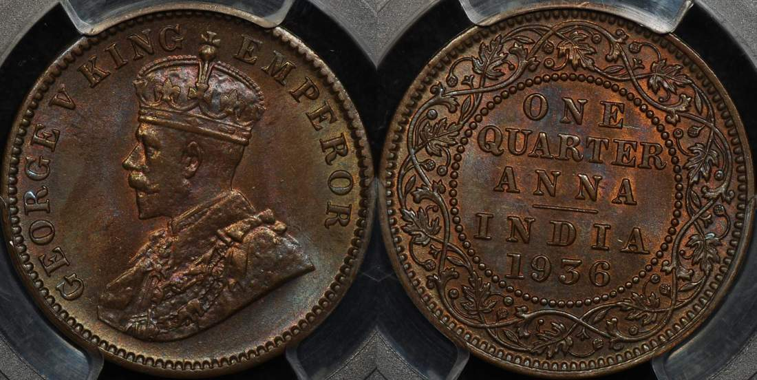 India 1936 C 1 4 Anna Pcgs Ms64bn Our Coin Catalog