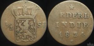 Netherland Indies 1824S 1/2 Stuiver
