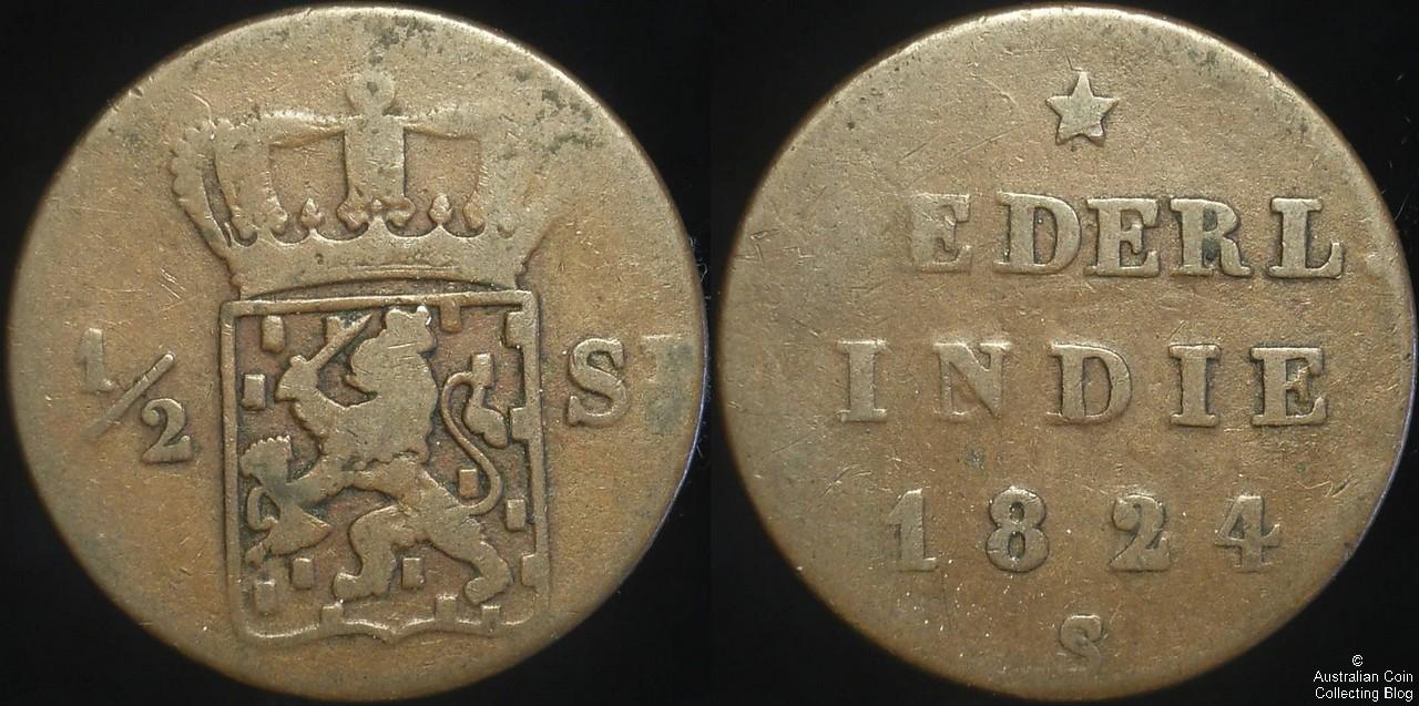 Netherlands East Indies 1824 1/2 Stuiver F