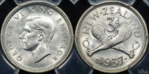 New Zealand 1937 Threepence PCGS MS64