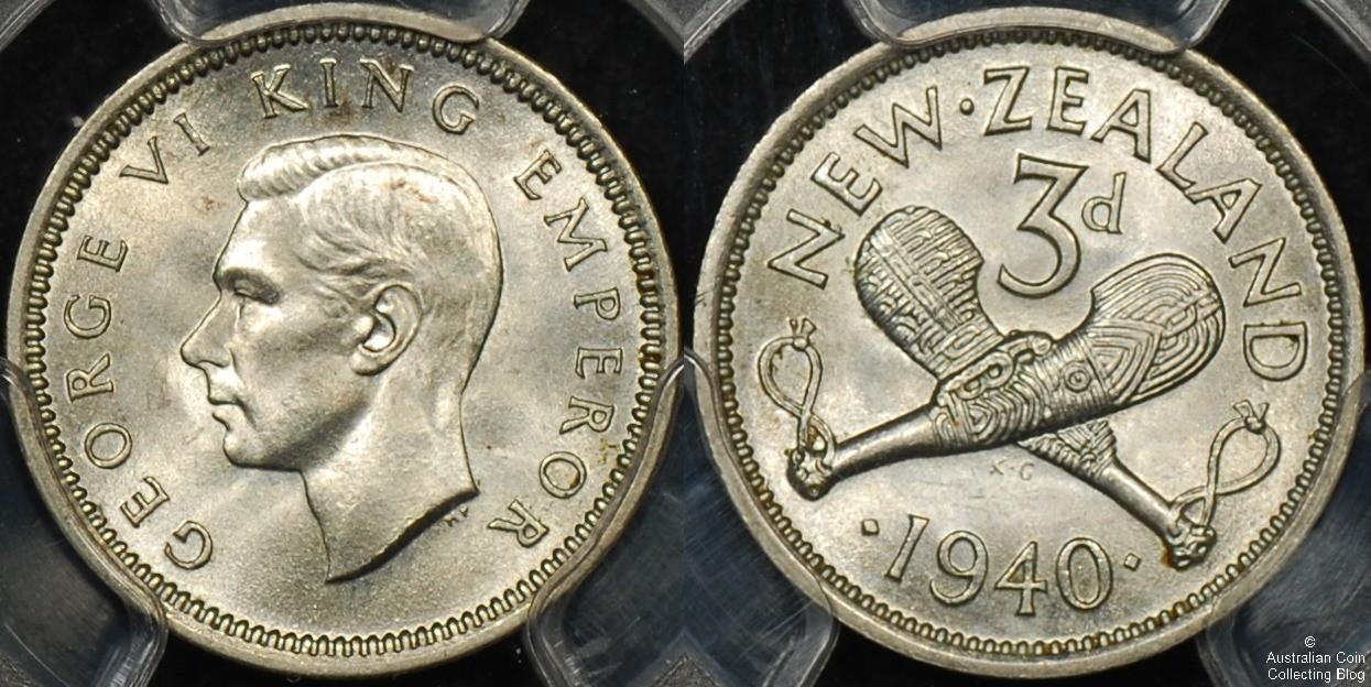 New Zealand 1940 3d PCGS MS65
