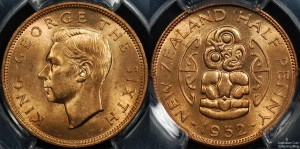 New Zealand 1952 1/2d PCGS MS64RD