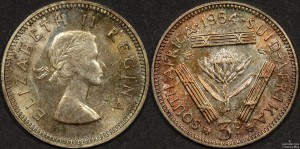 South Africa 1954 Threepence