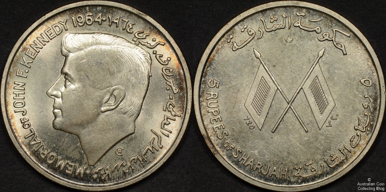 Sharjah 1964 5 Rupees – First Year Memorial of John F Kennedy