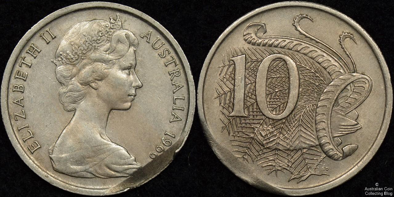 Australia 1966 10 Cent Incomplete Planchet Error