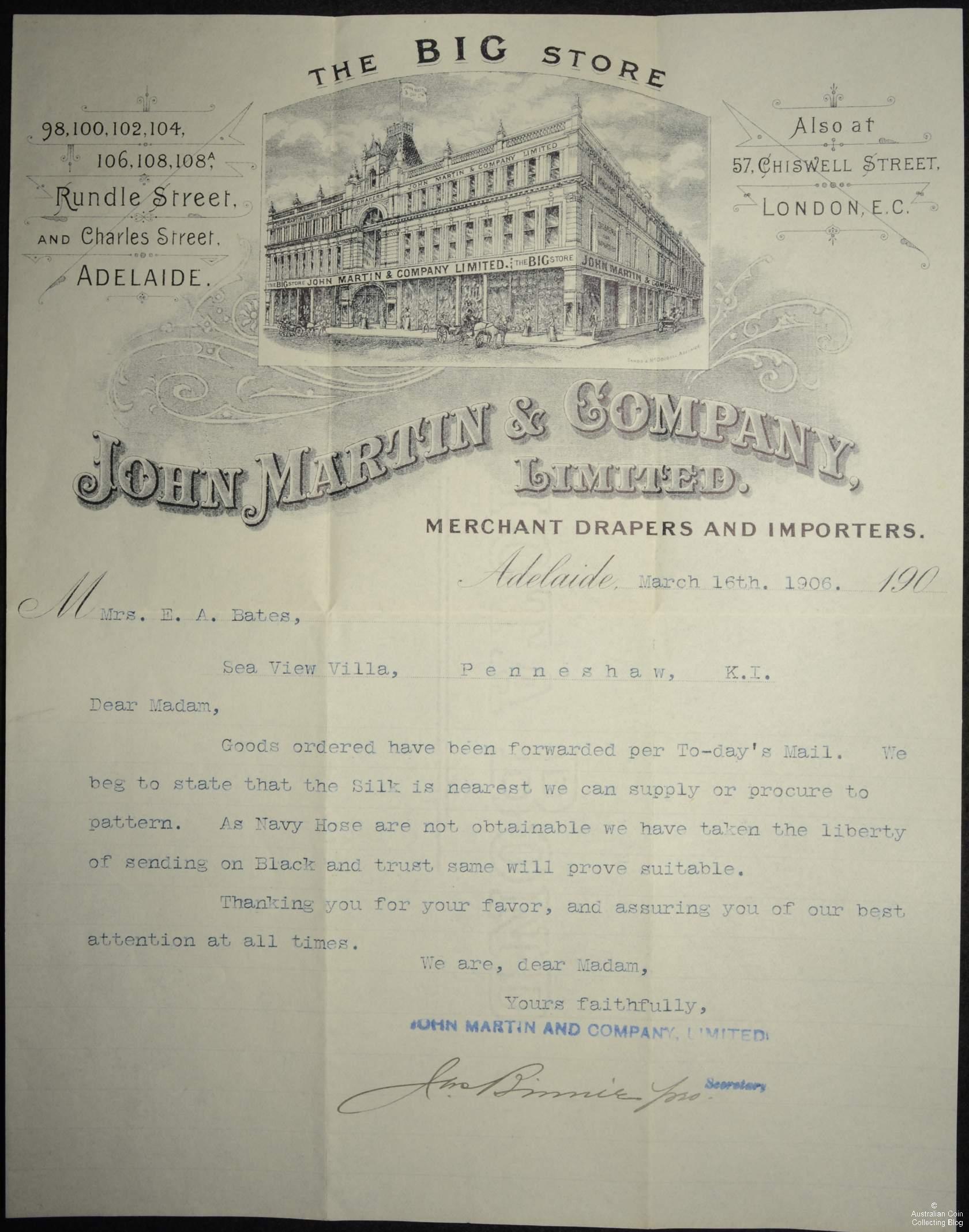 John Martin Letter to Mrs E A Bates 1906